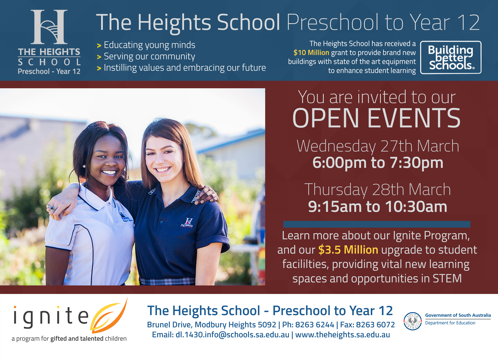 Open Events – 27th & 28th March 2019 – The Heights School